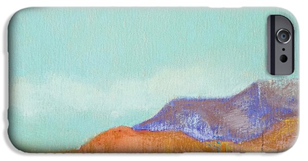 Santa Pastels iPhone Cases - Turquoise Mountains iPhone Case by Tracy L Teeter