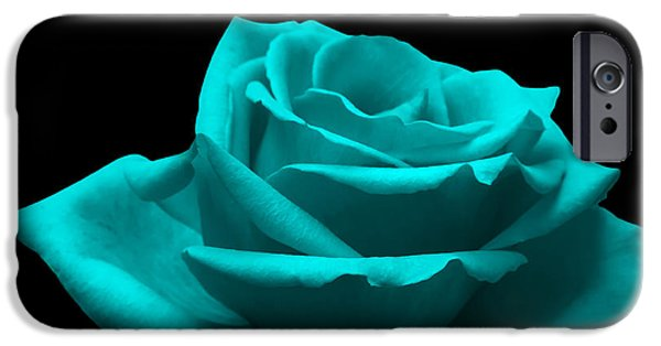 Fragility iPhone Cases - Turquoise Rose iPhone Case by Wim Lanclus