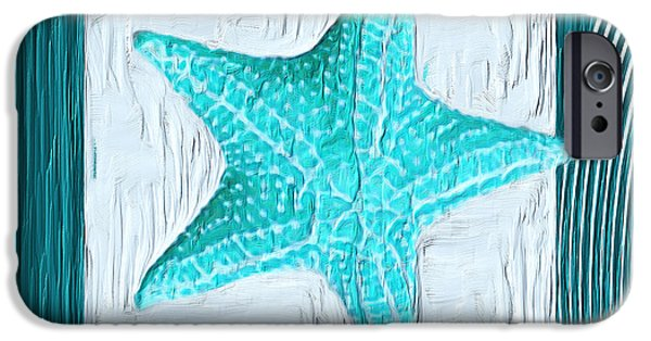 Abstract Seascape iPhone Cases - Turquoise Seashells XVIII iPhone Case by Lourry Legarde
