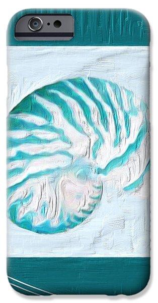 Turquoise Seashells XXI iPhone Case by Lourry Legarde
