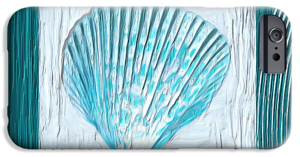 Abstract Seascape iPhone Cases - Turquoise Seashells XXIII iPhone Case by Lourry Legarde
