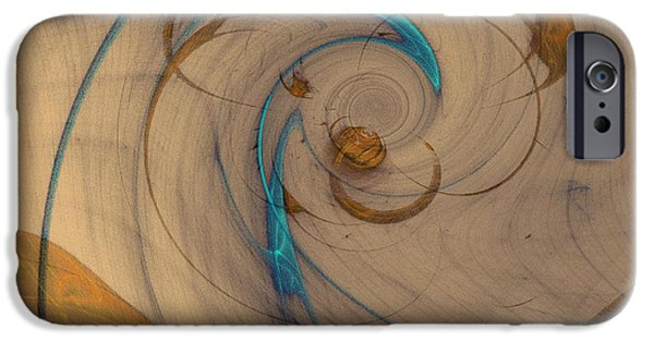 Recently Sold -  - Abstract Digital iPhone Cases - Turquoise Spiral iPhone Case by David Jenkins