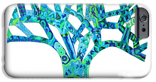 Kim Drawings iPhone Cases - Turquoise Tree Chakra 5 iPhone Case by Keleki Love