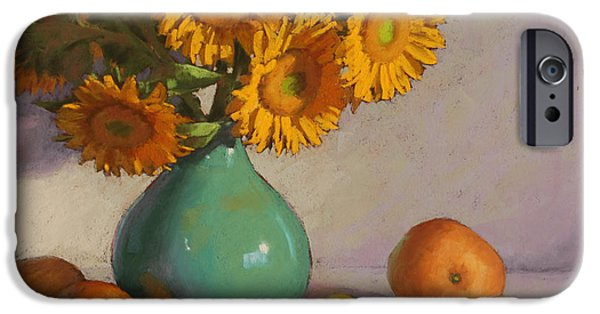 Still Life Pastels iPhone Cases - Turquoise Vase with Sunflowers iPhone Case by Sarah Blumenschein