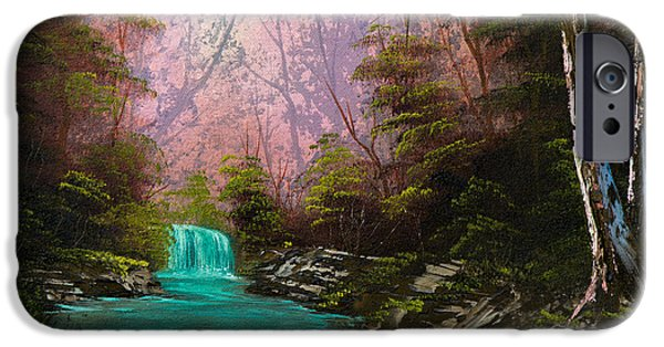 Bob Ross Paintings iPhone Cases - Turquoise Waterfall iPhone Case by C Steele