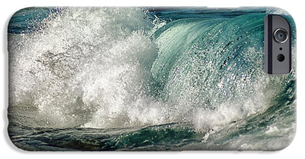 Moody Beach iPhone Cases - Turquoise Waves iPhone Case by Stylianos Kleanthous
