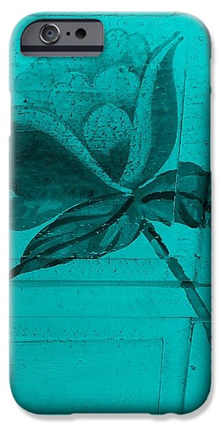 Botanic Illustration Digital Art iPhone Cases - Turquoise Wood Flower iPhone Case by Rob Hans