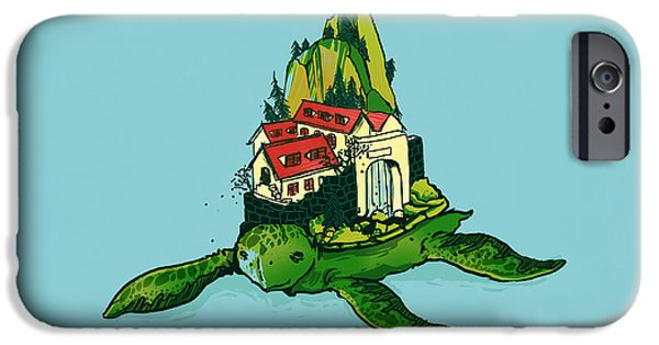 Pets Digital iPhone Cases - Turtle fort iPhone Case by Budi Kwan