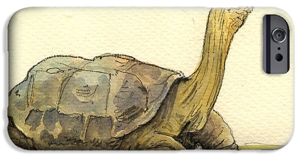 Reptile Paintings iPhone Cases - Turtle galapagos iPhone Case by Juan  Bosco