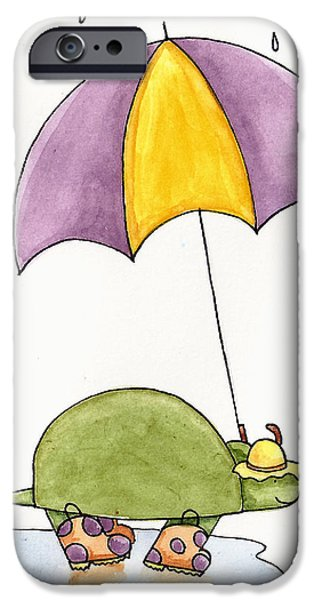 Wall Drawings iPhone Cases - Turtle in the Rain iPhone Case by Christy Beckwith