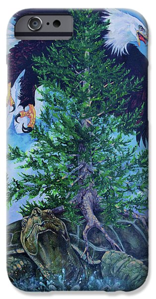 American Eagle Paintings iPhone Cases - Turtle Island iPhone Case by Derrick Higgins