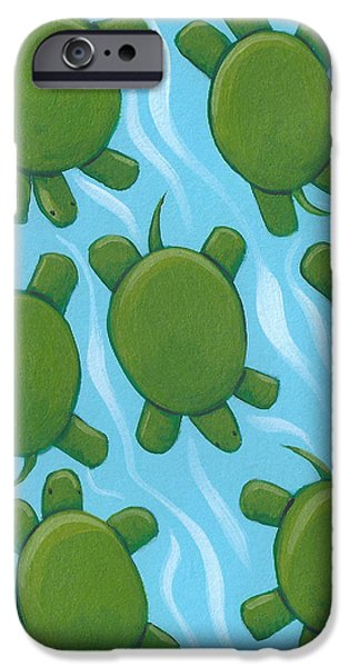 Reptiles Drawings iPhone Cases - Turtle Nursery Art iPhone Case by Christy Beckwith