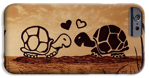 Abstract Seascape iPhone Cases - Turtles Love coffee painting iPhone Case by Georgeta  Blanaru