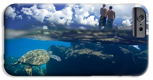 Ocean Art Photography iPhone Cases - Turtles View iPhone Case by Sean Davey