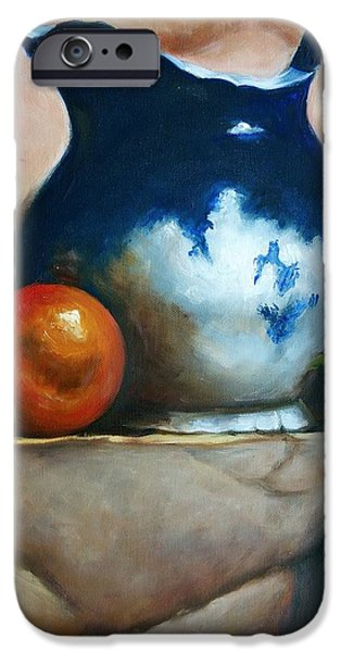 Old Pitcher Paintings iPhone Cases - Tuscan Blue Pitcher Still Life iPhone Case by Melinda Saminski