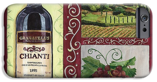 Italian Wine Paintings iPhone Cases - Tuscan Collage 1 iPhone Case by Debbie DeWitt