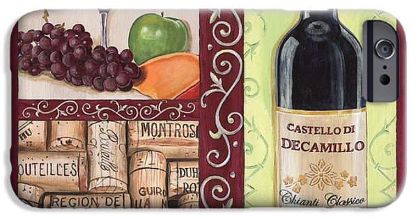 Italian Wine Paintings iPhone Cases - Tuscan Collage 2 iPhone Case by Debbie DeWitt