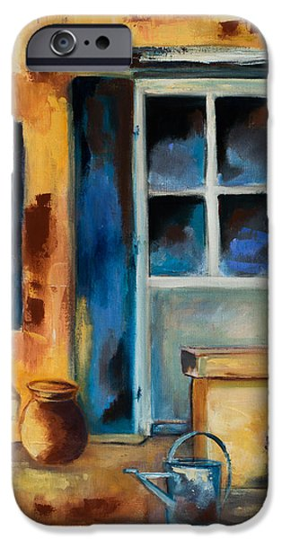 Pottery Paintings iPhone Cases - Tuscan Courtyard iPhone Case by Elise Palmigiani