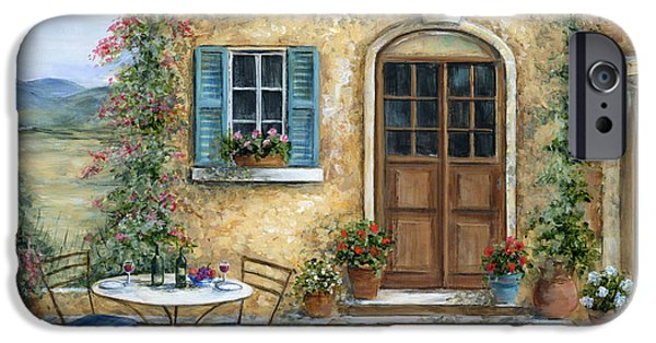 Table Wine iPhone Cases - Tuscan Courtyard With Cat iPhone Case by Marilyn Dunlap