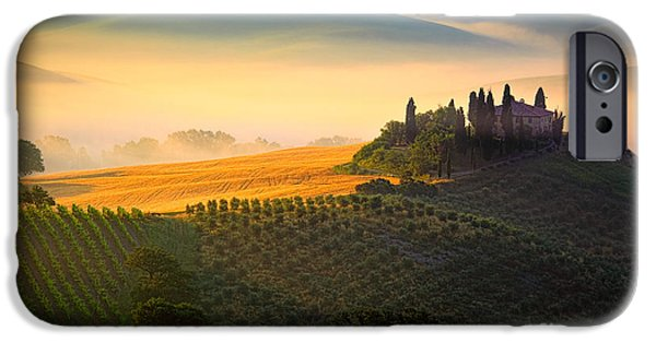 Tuscan Hills iPhone Cases - Tuscan Dawn iPhone Case by Inge Johnsson
