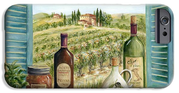 Window Paintings iPhone Cases - Tuscan Delights iPhone Case by Marilyn Dunlap