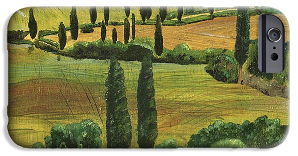 Cypress Trees iPhone Cases - Tuscan Dream 1 iPhone Case by Debbie DeWitt