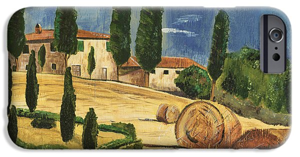 Cypress Trees iPhone Cases - Tuscan Dream 2 iPhone Case by Debbie DeWitt