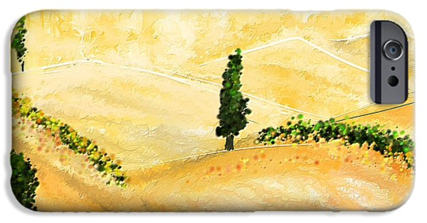 Italian Landscapes Paintings iPhone Cases - Tuscan Glow- Tuscan Impressionist Paintings iPhone Case by Lourry Legarde