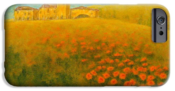 Tuscan Sunset Paintings iPhone Cases - Tuscan Gold 1 iPhone Case by Pamela Allegretto