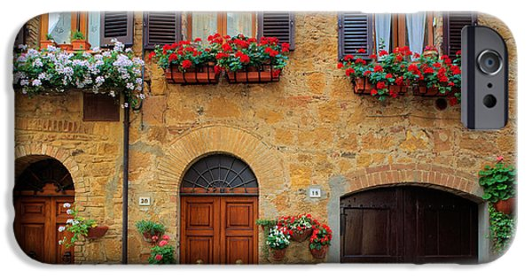 Tuscan Landscapes iPhone Cases - Tuscan Homes iPhone Case by Inge Johnsson