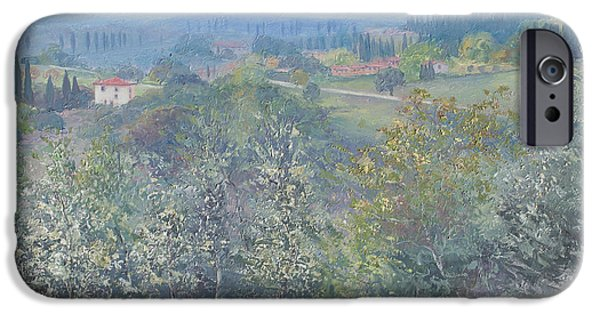 Tuscan Hills Paintings iPhone Cases - Tuscan landscape iPhone Case by Jan Matson