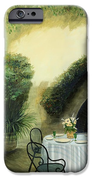 Garden Scene Paintings iPhone Cases - Tuscan Luncheon iPhone Case by Cecilia  Brendel