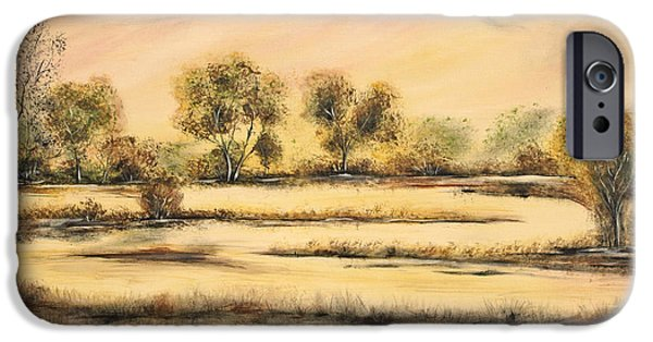 Tuscan Sunset Paintings iPhone Cases - Tuscan Marsh iPhone Case by Jean Plout