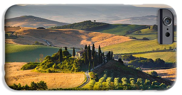 Tuscan Road iPhone Cases - Tuscan Morning iPhone Case by JR Photography