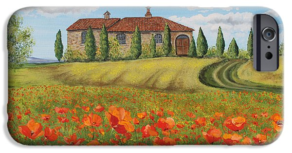 Tuscan Road iPhone Cases - Tuscan Poppies-A iPhone Case by Jean Plout