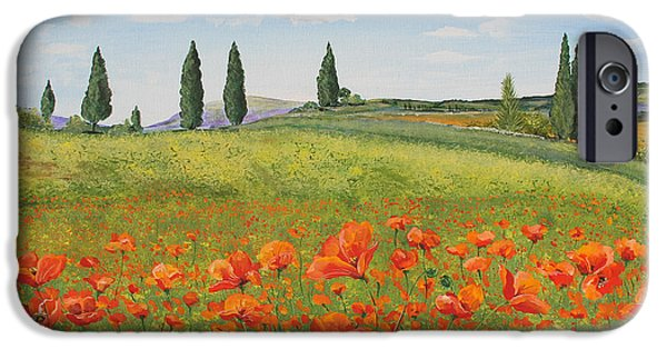 Tuscan Road iPhone Cases - Tuscan Poppies-B iPhone Case by Jean Plout