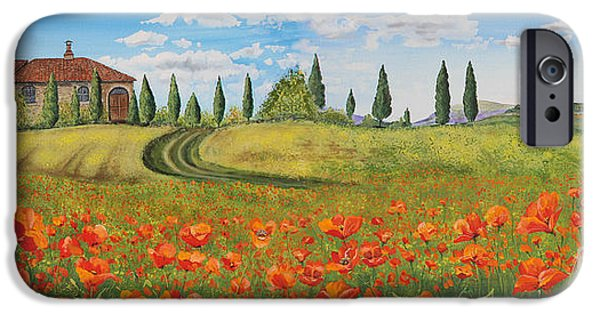 Tuscan Road iPhone Cases - Tuscan Poppies-JP1968 iPhone Case by Jean Plout
