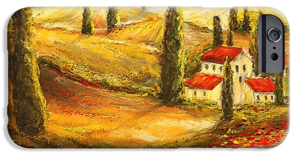 Vineyard Art iPhone Cases - Tuscan Poppies - Tuscan Poppy Fields Impressionist iPhone Case by Lourry Legarde