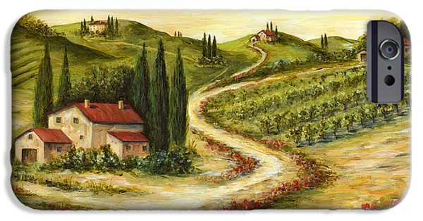 Vineyard Landscape iPhone Cases - Tuscan road With Poppies iPhone Case by Marilyn Dunlap
