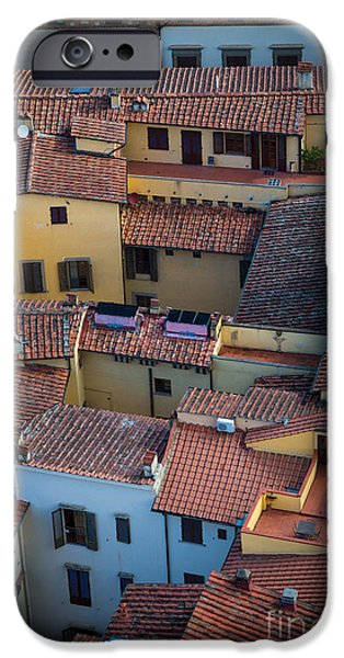 Rooftop iPhone Cases - Tuscan Rooftops iPhone Case by Inge Johnsson