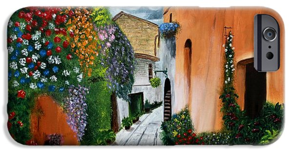 Basket iPhone Cases - Tuscan Street Scene iPhone Case by Bev Conover
