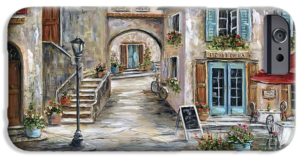 Red Umbrella iPhone Cases - Tuscan Street Scene iPhone Case by Marilyn Dunlap