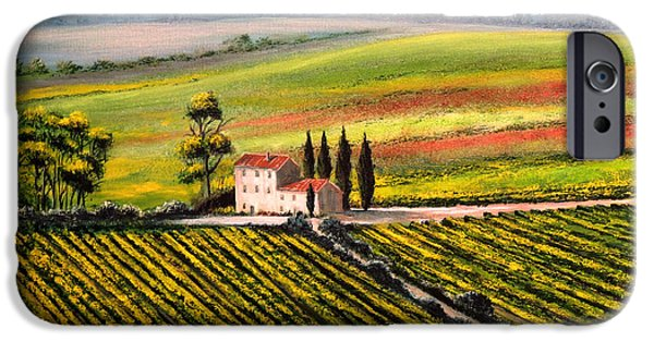 Vineyard Prints iPhone Cases - Tuscan Tranquillity iPhone Case by Bill Holkham