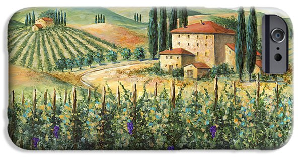 Italian Wine Paintings iPhone Cases - Tuscan Vineyard and Villa iPhone Case by Marilyn Dunlap