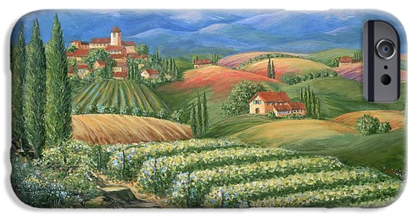 Vineyard Art iPhone Cases - Tuscan Vineyard and Village  iPhone Case by Marilyn Dunlap