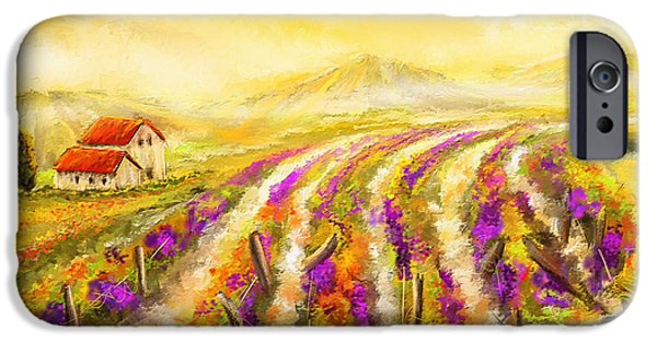 Vineyard Art iPhone Cases - Tuscan Vineyard Sunset - Vineyard Impressionist Paintings iPhone Case by Lourry Legarde