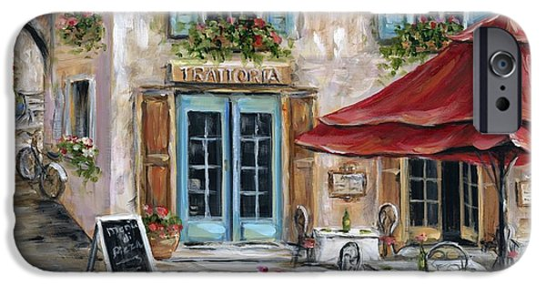 Red Umbrella iPhone Cases - Tuscan Trattoria iPhone Case by Marilyn Dunlap