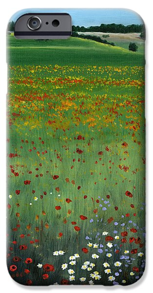 Cecilia iPhone Cases - Tuscany Flower Field iPhone Case by Cecilia  Brendel