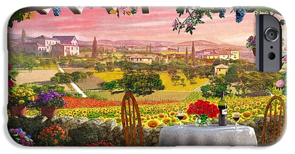 Flowerpot iPhone Cases - Tuscany Hills iPhone Case by Dominic Davison