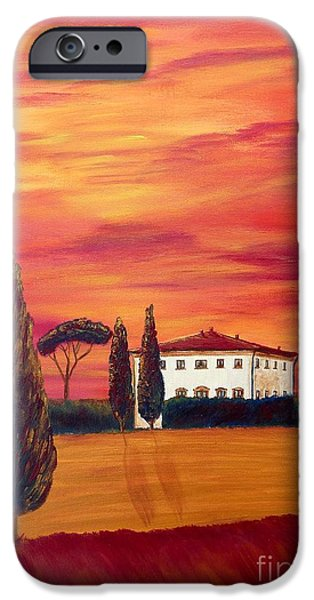 Tuscan Sunset Paintings iPhone Cases - Tuscany in red iPhone Case by Christine Huwer